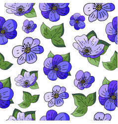 seamless pattern wit spring flowers hepatica nobil vector image