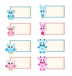 Set animal blank template for text Cow owl vector