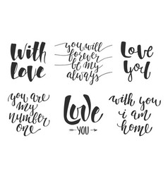 set love romantic lettering for greeting cards vector image
