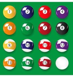 set of 16 color billiards balls eps10 vector image