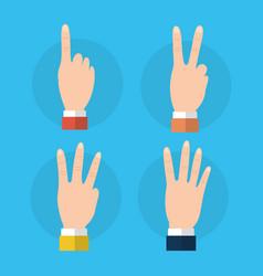 set of hands differents numbers fingers gestures vector image