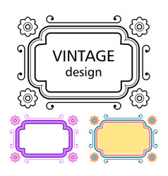 set of vintage frames in a lineart style vector image