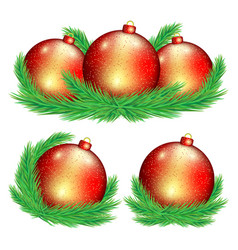 set red christmas balls vector image