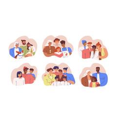 Set various diverse happy family portrait vector