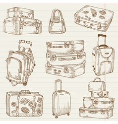 set vintage suitcases vector image