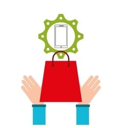 shopping e-commerce smartphone money icon graphic vector image