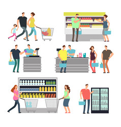 Shopping shop people in supermarket family buyers vector