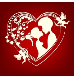 silhouette of a heart with two lovers vector image
