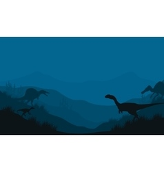 Silhouette of Spinosaurus and Megapnosaurus vector image