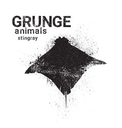 Silhouette stingray in grunge design style animal vector