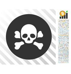 Skull black spot flat icon with bonus vector