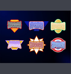 sport emblem typography set super hero logotype vector image