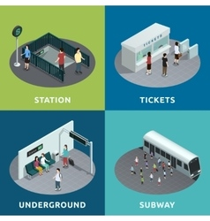 Subway Isometric Design vector image