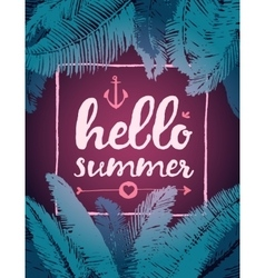 Summer poster text frame tropical leaves vector image