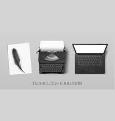 technology progress from feather to laptop vector image