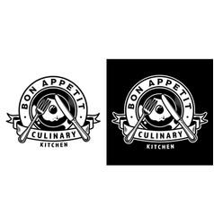 vintage cooking monochrome badge vector image