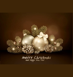 vintage for merry christmas and vector image