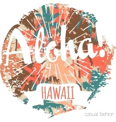 Vintage tropical exotic Hawaii print for t-shirt vector image