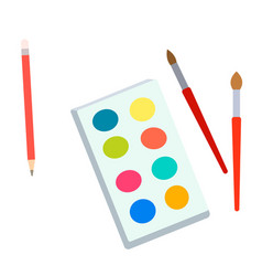Watercolors and brushes flat simple vector