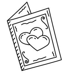 Wedding card icon doddle hand drawn or black vector