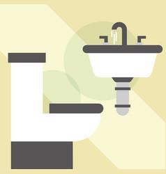 White toilet bowl washbasin clean bathroom vector