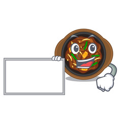 With board bulgogi is served on mascot plate vector