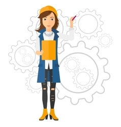 Woman standing on gears background vector image
