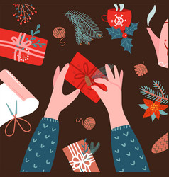 Wrapping christmas gifts two human hands top vector