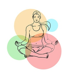 Yoga poses yoga pants on a colored background vector image