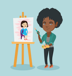 Young african-american artist painting a portrait vector
