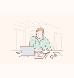 young enthusiastic busy creative person vector image