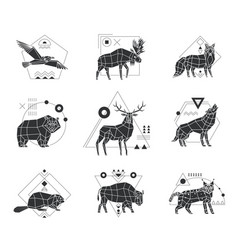 animals polygonal monochrome emblems vector image