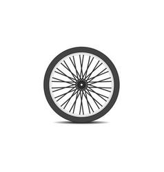 bicycle wheel in black design with shadow vector image vector image