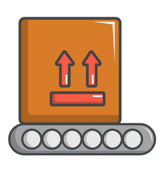 conveyor belt with box icon cartoon style vector image