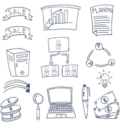 Doodle of element business set vector image vector image