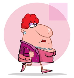 Lady In Pink Wears Pearls And Carries Purse vector image