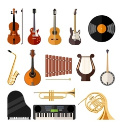 music instruments flat icons vector image