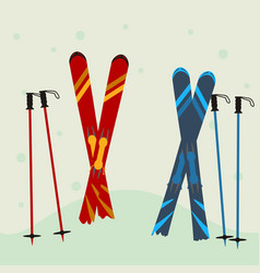 Red and blue ski equipment in the snow winter vector