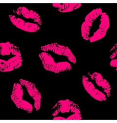 Seamless pattern with a lipstick kiss prints vector image