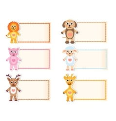Set animal blank template for text Lion giraffe vector image