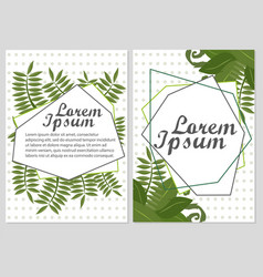 set of floral cards design with green vector image