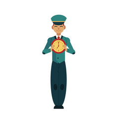 worker character with time design concept young vector image