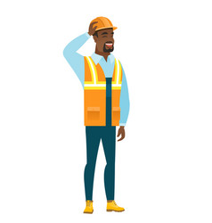 young african-american builder scratching his head vector image vector image