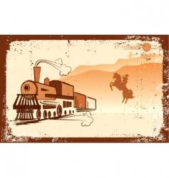 cowboy and locomotive vector image vector image