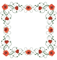 Delicate frame with red poppies isolated on white vector image vector image