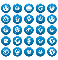 globe earth icons set blue simple style vector image