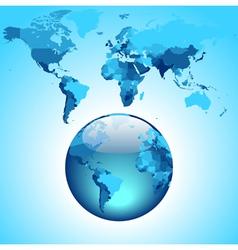 Globe on blue World map vector image