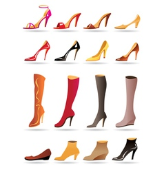 Ladies slippers shoes and boots vector image