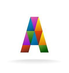 Letter A logo template Color triangles vector image