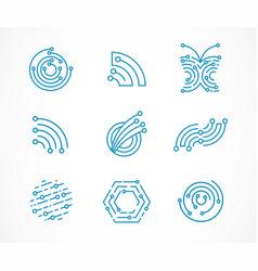 Logo set - technology tech icons and symbols vector
